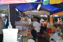 Food stands littered the square, selling a variety of Tex-Mex cuisine.