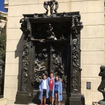 "In front of Auguste Rodin's The Gates of Hell, which we took to ""celebrate"" the beginning of our pre-med journey"